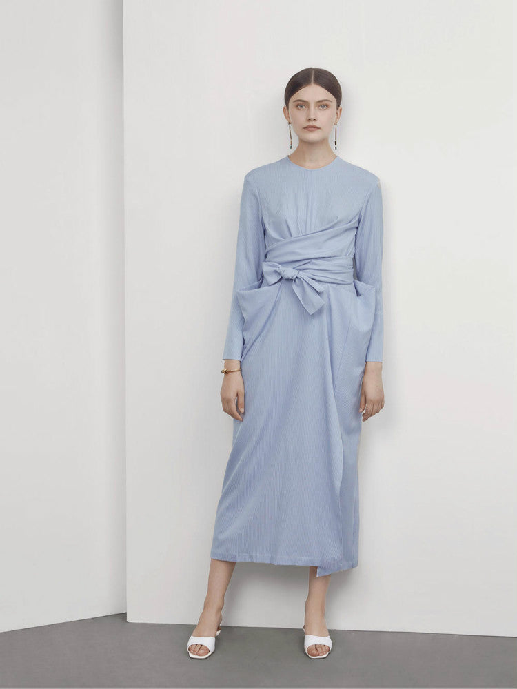 Baby Blue Wrapped Long Dress