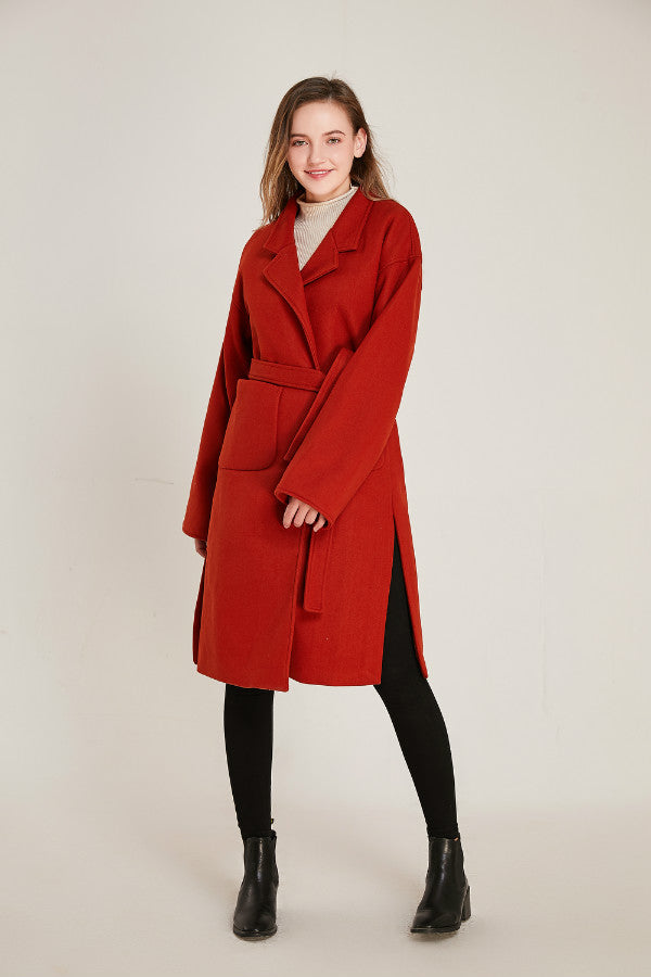 Belted Red Wool Coat