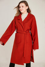 Load image into Gallery viewer, Belted Red Wool Coat