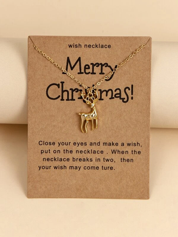 Christmas Elk Charm Necklace