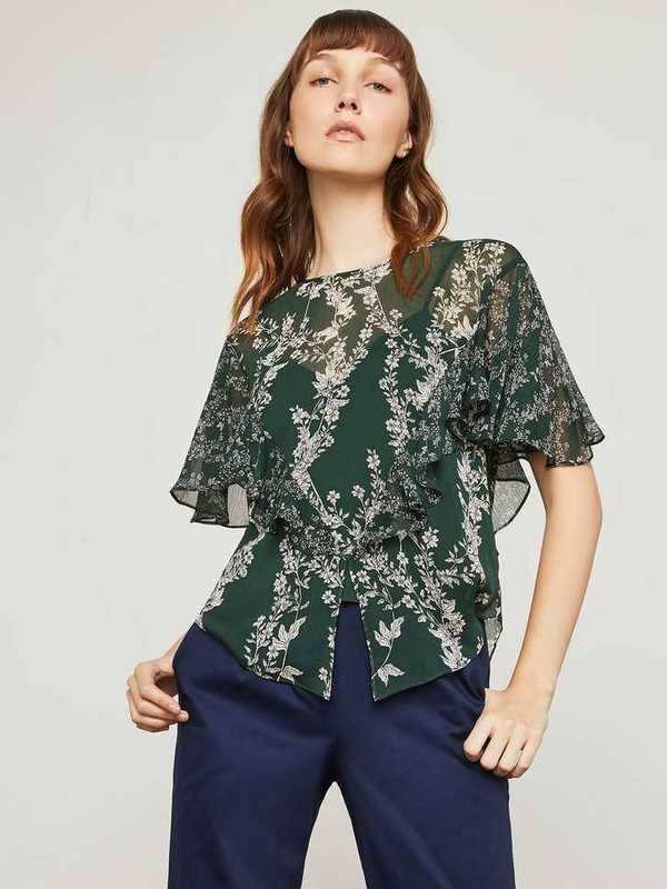 Floral Blooms Ruffle Top