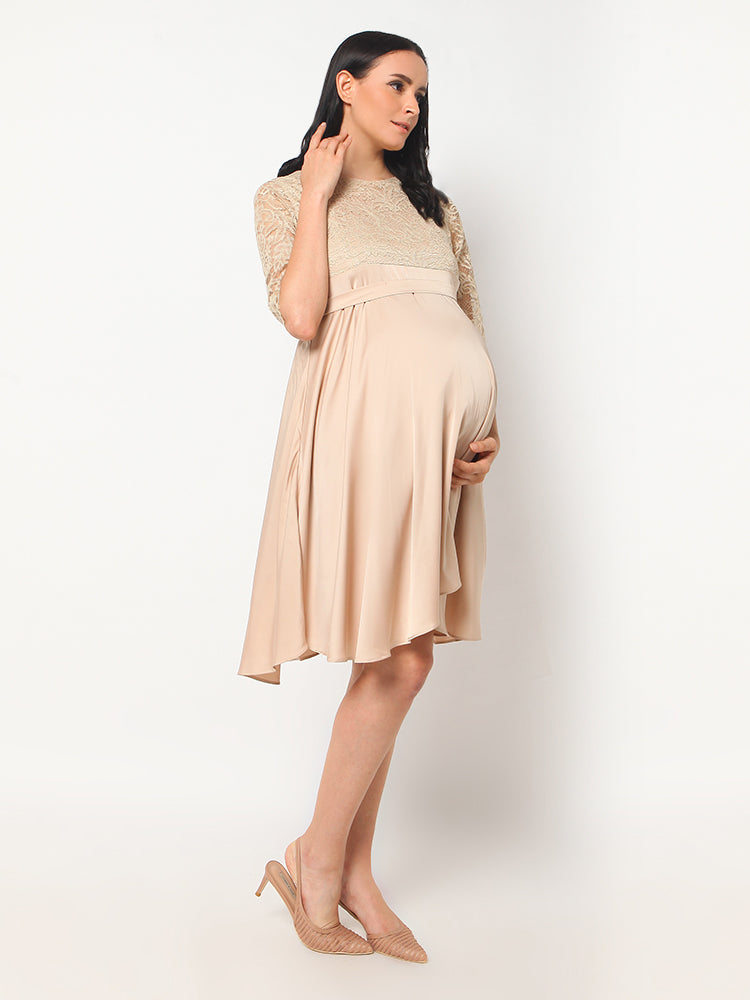 Gold Silky Maternity & Nursing Dress