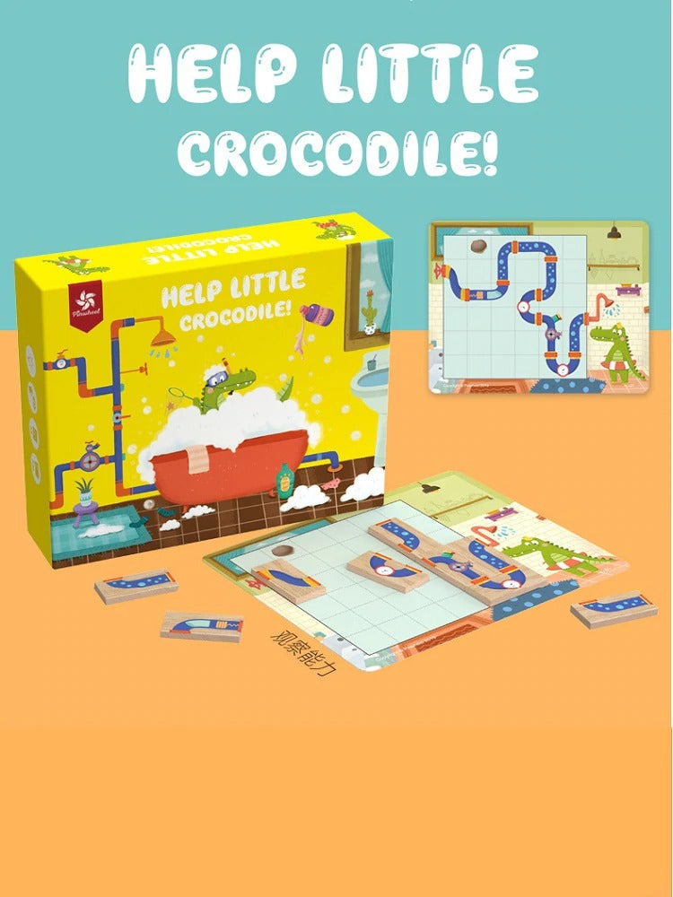 Help Little Crocodile! Wooden Connect The Pipes Puzzle