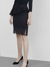 Load image into Gallery viewer, Lace Midi Skirt in Black