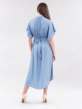 Load image into Gallery viewer, Light Blue Draped Dress