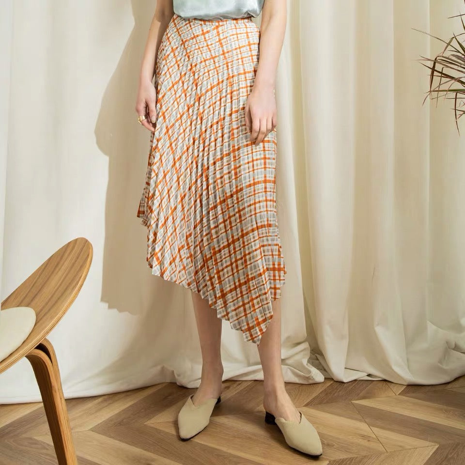 Orange Plaid Pattern Pleated Midi Skirt