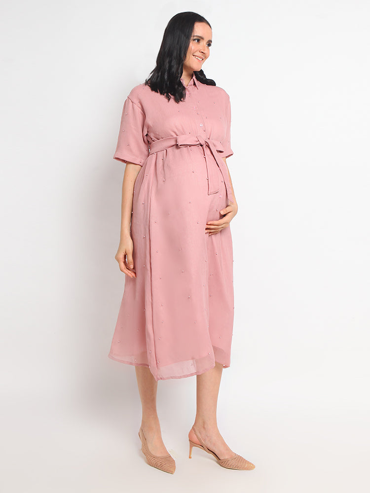 Pink Pearly Maternity & Nursing Dress