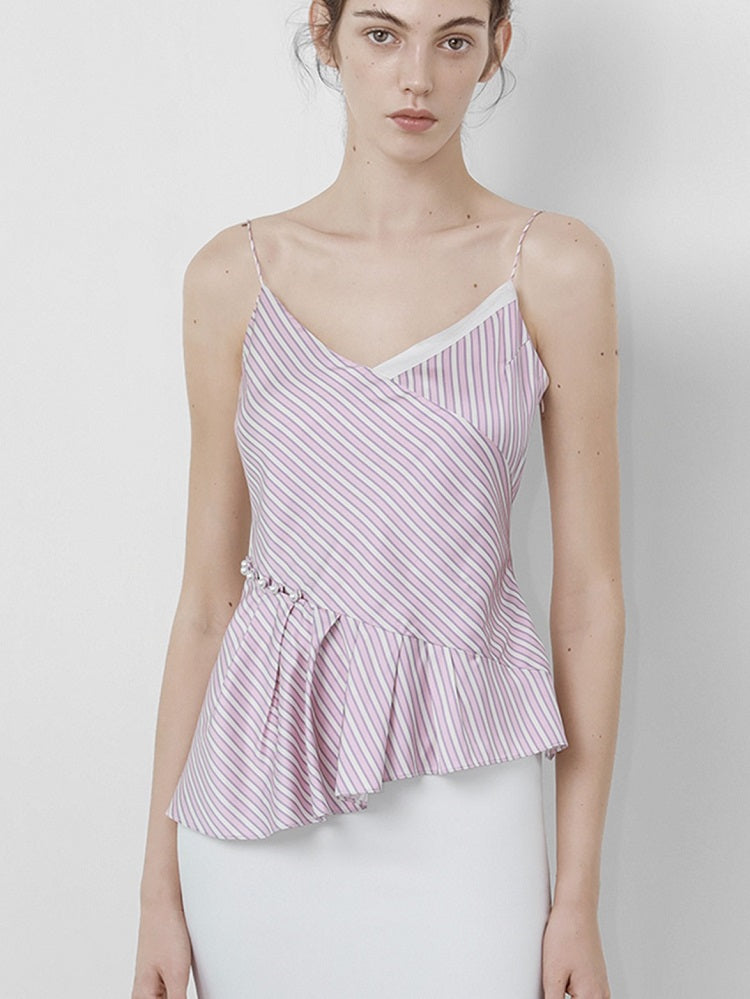 Pink Stripes Top with Pearl Details