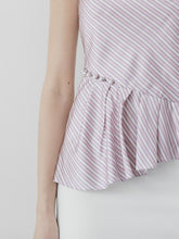 Load image into Gallery viewer, Pink Stripes Top with Pearl Details