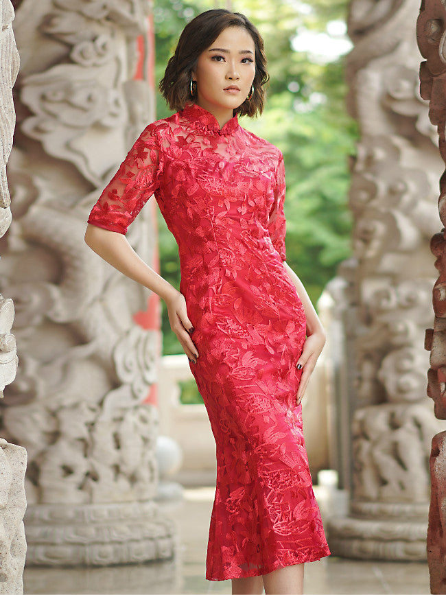 Red Fish Tail Qipao / Cheongsam