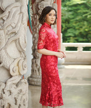 Load image into Gallery viewer, Red Fish Tail Qipao / Cheongsam