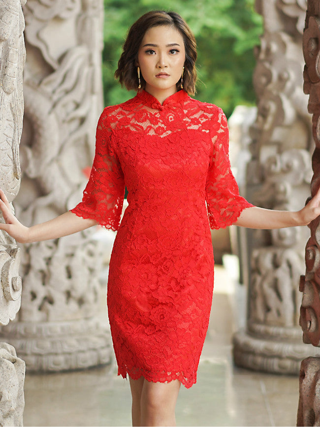 Red Lace Qipao / Cheongsam