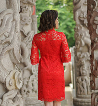 Load image into Gallery viewer, Red Lace Qipao / Cheongsam