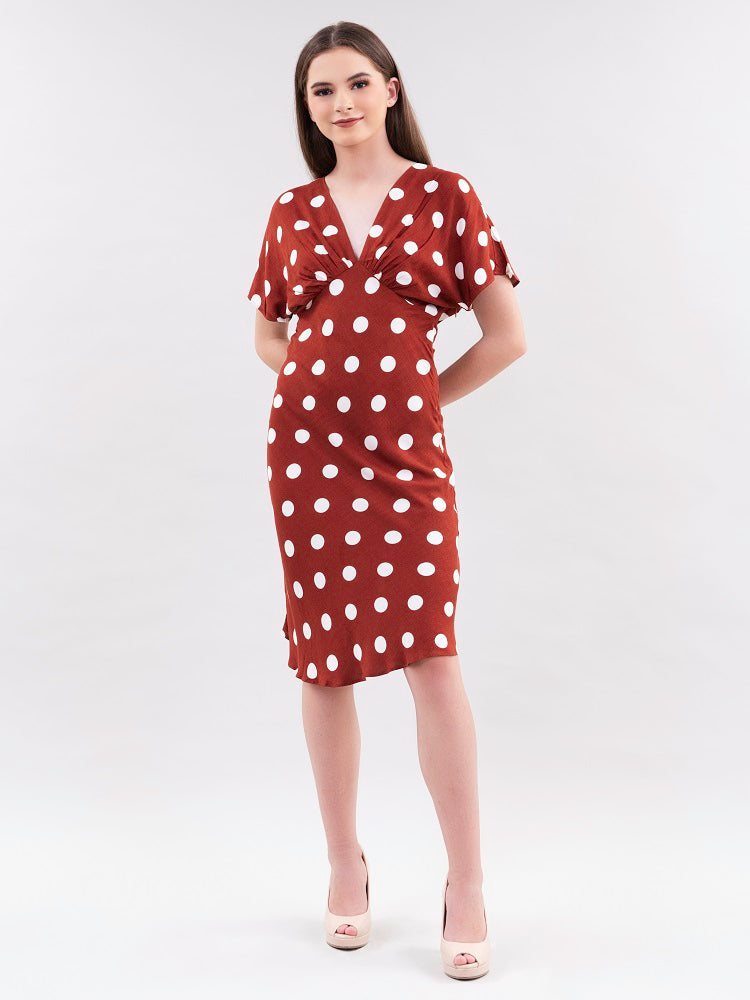 Red Polkadot Shift Dress