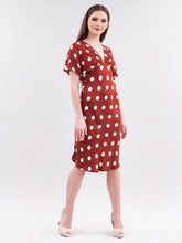 Load image into Gallery viewer, Red Polkadot Shift Dress