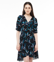 Load image into Gallery viewer, Ruched Puff-Sleeve Wrap Dress