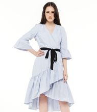 Load image into Gallery viewer, Ruffle Hem Faux Wrap Dress