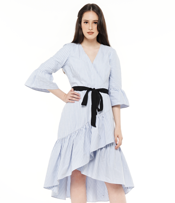 Ruffle Hem Faux Wrap Dress