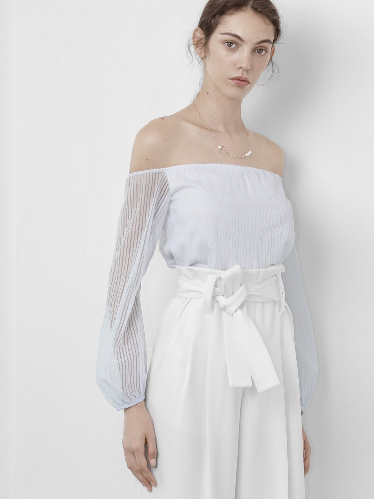 Sabrina Off-Shoulder Blouse in Light Blue