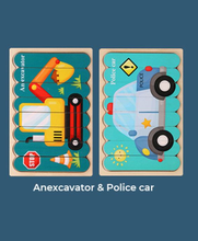 Load image into Gallery viewer, Wooden Puzzle - Anexcavator&Police car