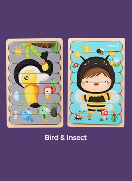 Wooden Puzzle - Bird&Insect