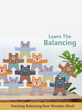 Load image into Gallery viewer, Wooden Stacking Balancing Blocks Jumping Bear - 12 Pieces