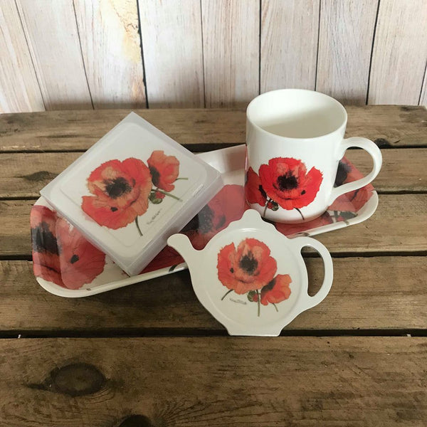 set of hand painted red poppies home and kitchen ware - including tea bag tidy, tray, mug and coasters