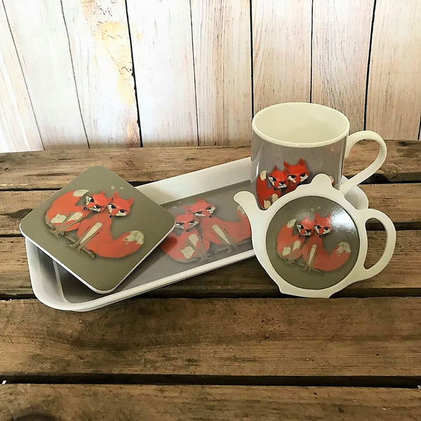 Group of fox homeware - including a bone china mug, melamine tray, tea bag tidy and coaster