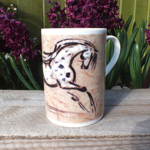 Bone china mug depicting painted appaloosa horse design