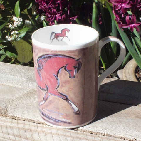 bone china mug featuring bay arabian horse with white socks