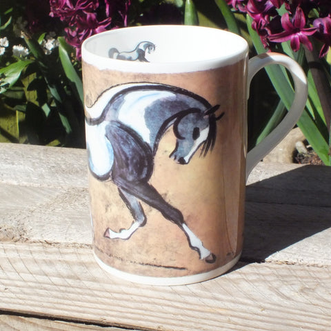 Bone china mug with black and white piebald horse painted on