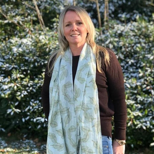 duck egg and sage leaf print scarf