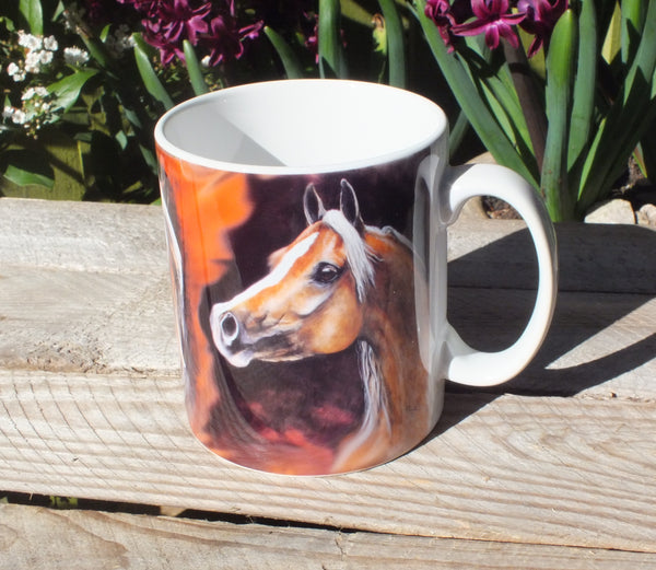 Mug with three palomino heads from different angles