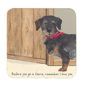 Coaster featuring black and tan Daschund