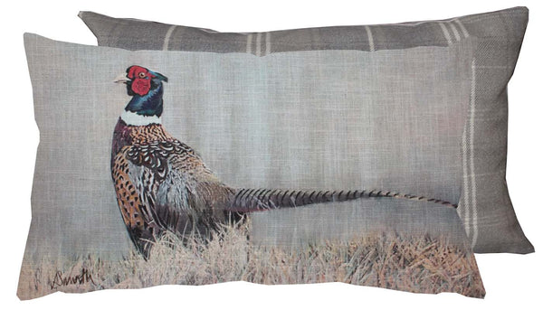 pheasant cushion showing greed tweed reverse