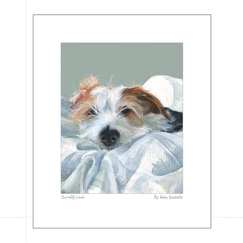 Print featuring long haired jack russell terrier dog snuggled under duvet