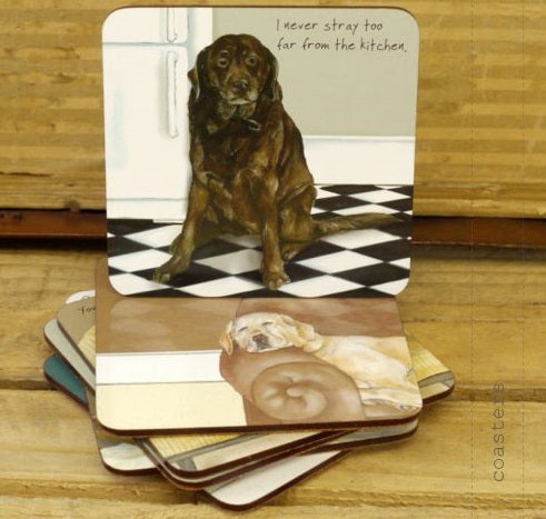 Stack of Little Dog Laughed Coasters