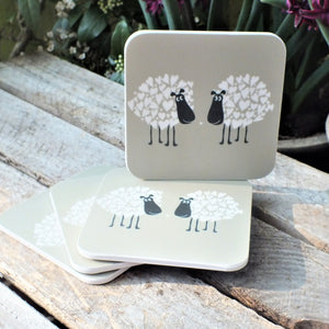 Set of 4 coasters with couple of sheep and love hearts