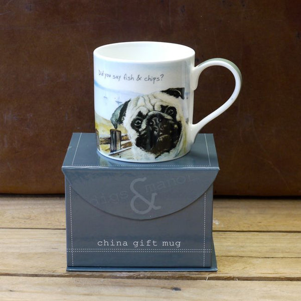 pug on mug sitting on a box - with the caption 'Did you say Fish & Chips'
