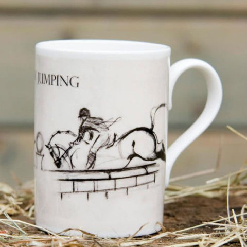 bone china mug showing horse and rider jumping a puissance wall