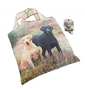 shopper bag featuring a golden lab and black labrador