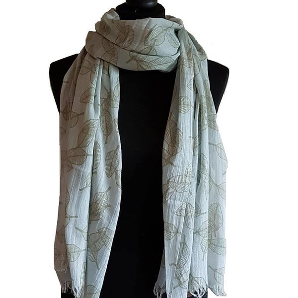 leaf print scarf in sage and duck egg blue