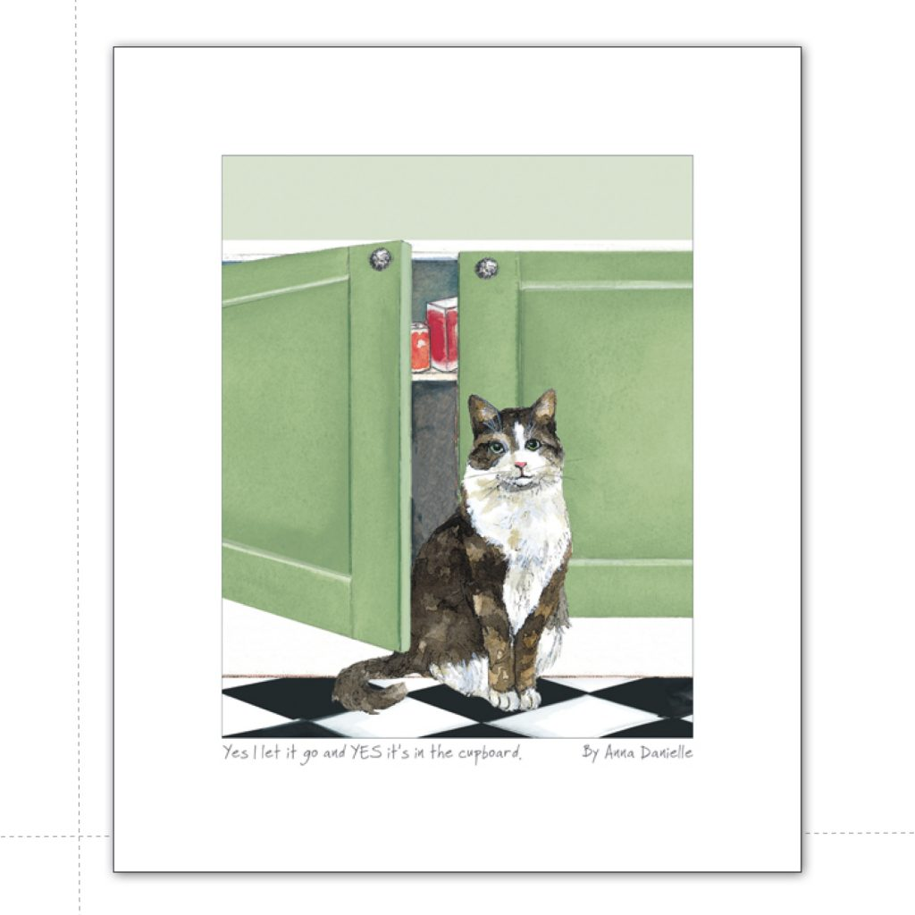 art print with long hair tabby cat by kitchen cupboard