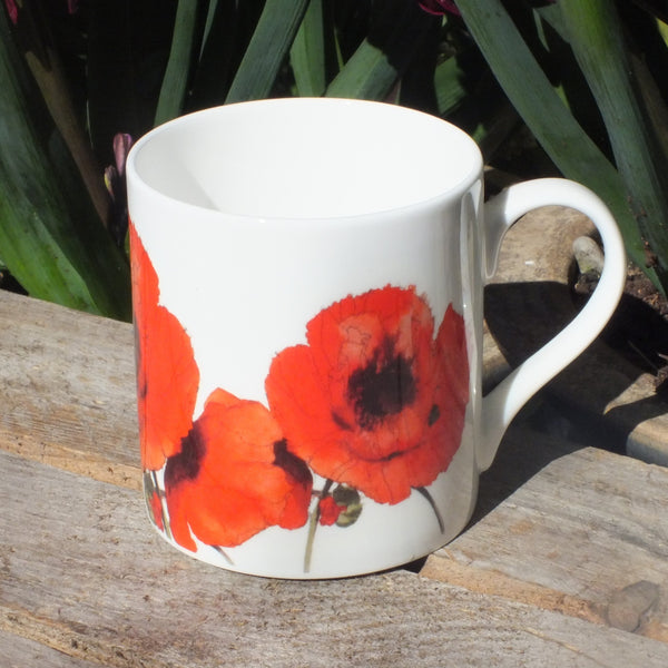 White mug with hand painted red poppies