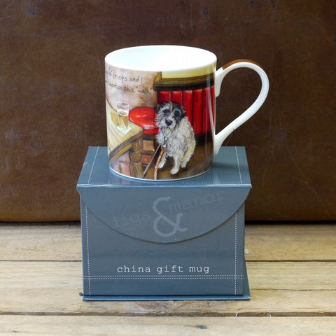 bone china mug featuring wire haired terrier and the phrase 'buy me a packet of crisps and I wont mention this walk'