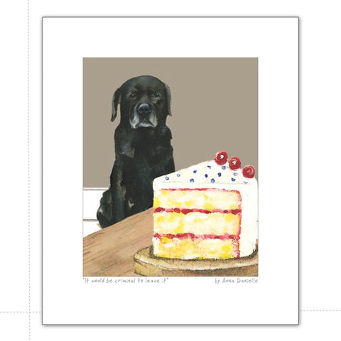 Art print featuring black labrador eyeing up some cake
