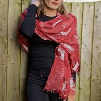 Rust red pashmina scarf with wild horse in forest design