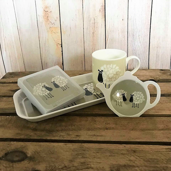 collection of sheep and heart homeware - includes coasters, mug, tea bag tidy and tray