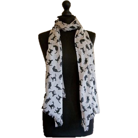 white scarf with black cat design