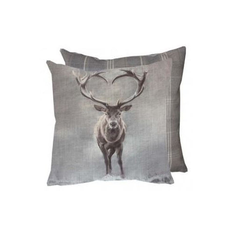 stag cushion with grey tweed backing